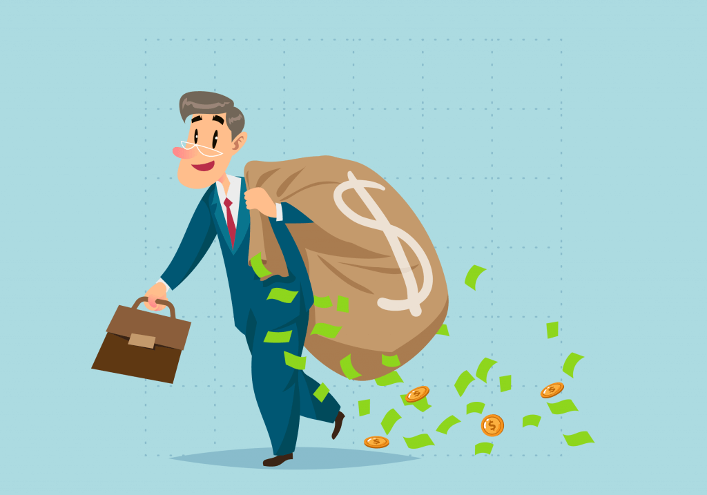 Investor with a bag of cash